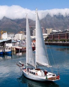 Sail boat in the harbor of Cape Town, South Africa