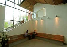 WMU-Lansing interior, students on benches