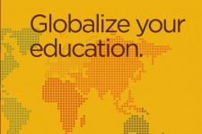 Graphic depicting a world map that states Globalize Your Education.