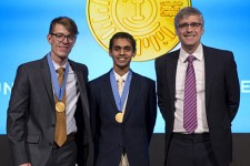 Photo of Joseph Barnett, Stephen John and Mo Rocca.