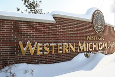 Photo of a snow-covered WMU sign.
