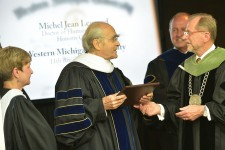 Photo of Legrand receiving an honorary degree.
