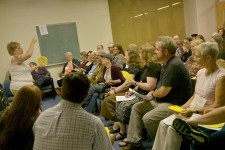 Photo of Medieval Congress attendees in a lecture hall.