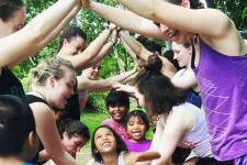 Photo of WMU students dancing with children in Panama.