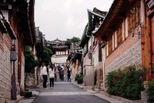Photo of street lined with traditional houses in Seoul, South Korea.