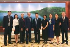 Photo of GUFE administrators with Jane Blyth, John M. Dunn, Pu Zhao, Ying Zeng and Yvonne Zhang.