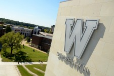 Photo of W logo on WMU's Sangren Hall.