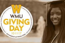 Photo of a WMU student in a graduation cap and gown with WMU Giving Day, October 11, 2017, laid over a portion of the photo.