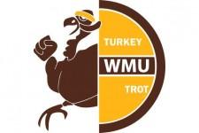 Brown and gold WMU Turkey Trot logo showing a turkey wearing a gold headband.