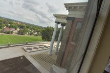 The outside of WMU's Heritage Hall portico.