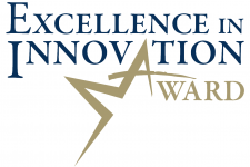 Blue and gold graphic reads: Excellence in Innovation Award.