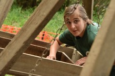 A WMU student digs through direct at a past Fort St. Joseph open house.