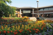 Photo of the outside of the Haworth College of Business and gardens.