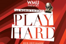 WMU Theatre, The World's A Stage, Play Hard; image of Shakespeare wearing sunglasses.