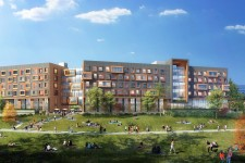 Drawing of proposed development of WMU's South Neighborhood gateway, with new residential buildings, trees and green space.