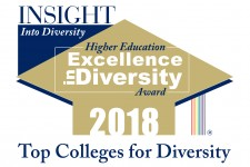 Logo that reads Insight Into Diversity Higher Education Excellence in Diversity Award 2018, Top Colleges for Diversity.