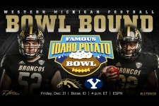 Photo of two WMU football players and the words Western Michigan Football Bowl Bound Famous Idaho Potato Bowl.