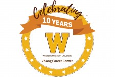Graphic of a gold circle with the words Celebrating 10 years, Western Michigan University Zhang Career Center.