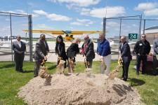 WMU leaders ceremonially break ground on expanded aviation center