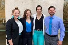 Photo of WMU students, from left to right, Lydia Burton, Caitlyn Gordon, Kira Blanchflower and Kirill Eydinov.