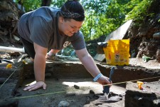 A student excavates a site at Fort St. Joseph.