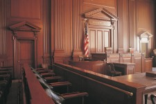 Photo inside an empty courtroom.
