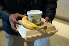 A WMU student gets food to-go.