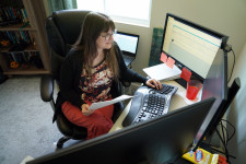 Western Michigan University Graduate College enrollment assistant Shari Rose working from her Galesburg, Michigan home.