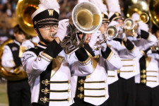 Scholarship recipient Eric Gorzynski plays in the Bronco Marching Band.