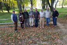 Members of the MGS and United States Geological Survey Bluff research collaboration team outside in park standing together for photo