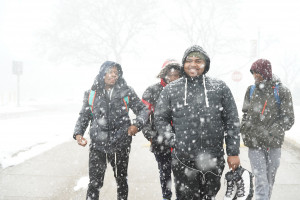 Students walking in the snow
