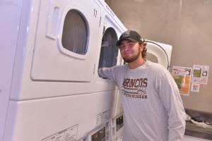 Student doing laundry