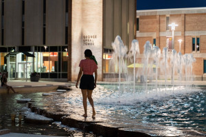 Student at Miller Fountain