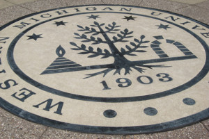 image of the WMU seal in concrete on campus