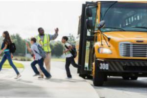 Children exiting a schoolbus
