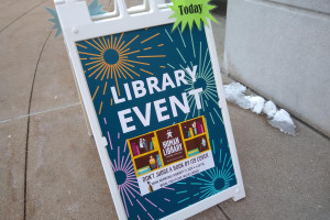 Sign for Human Library event.