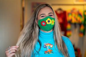 Chloe LePine wears one of her masks.
