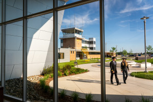 The view looking out the front windows of the Aviation Education Center.
