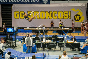 Stacie Harrison performs on the uneven bars.