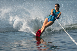 A person water skiing on one ski.