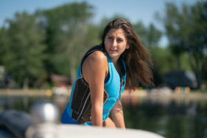 A person wearing a life jacket.