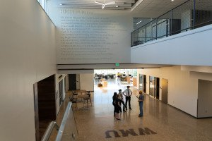 A view of the first floor of the Aviation Education Center from the second floor.