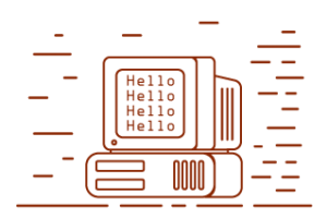 Decorative image: computer with 'hello' message icon, corresponds to January - February Announcement phase