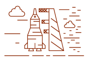 Decorative image: rocket launchpad icon, corresponds to September Launch phase