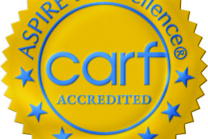 Gold and blue CARF logo