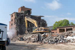 Construction equipment in the wreckage of French Hall.