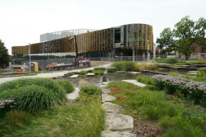 An outdoors photo of the new student center.