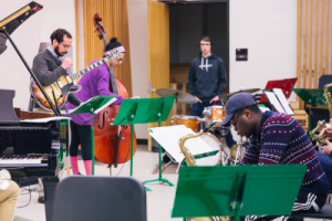 Students practicing with musical instrumentsC