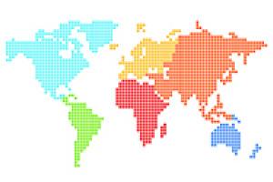 pixellated world map
