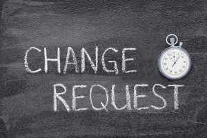 Change Request written in chalk on a chalkboard with a timer